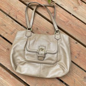 Coach Tan Gold Leather Satchel Tote Large